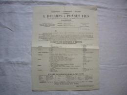 Horaires 1864 Bateaux à Vapeur Décamps & Ponset Fils à Marseille - Europe