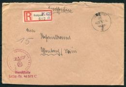 WW2 Germany Einschreiben Feldpost Brief / Registered Fieldpost Cover - Germany
