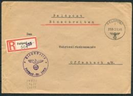 1941 Germany Einschreiben Feldpost Brief / Registered Fieldpost Cover - Wehrbezirkskommando Offenbach - Germany