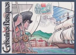 = Corsaires Basques Carte Postale 1er Jour 64 Saint Jean De Luz 13.9.97 N°3103 Le Port, Corsaire, Navire à Voile - Cartoline Maximum