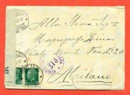CENSURE - DA  BOGLIACO PER MILANO - BUSTA ANCORA CHIUSA - 1900-44 Victor Emmanuel III.