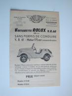 Plaquette Publicitaire Pour La Voiturette ROLUX V.b.60,125 Cm3,contruite à Montferrand (puy-de-dôme) - Automobile