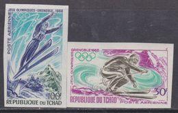 Tchad PA N° 44 / 45 Nd XX Jeux Olympiques D'hiver à Grenoble, Les 2 Valeurs Variété Non Dentelée, Sans Charnière,TB - Tchad (1960-...)