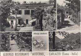 CARLAZZO-COMO-ALBERGO RISTORANTE=MODERNO=MULTIVEDUTE- CARTOLINA VERA FOTOGRAFIA VIAGGIATA IL 25-7-1961 - Como