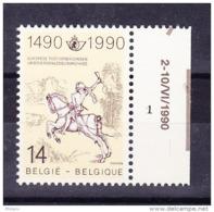 BELGIQUE, COB 2350a BRUN JAUNE ** MNH N° PL 1  . (4A49) - Plate Numbers
