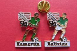2 Pin's,Sport, WORLD CUP USA 94,soccer,drapeau,KAMERUN,BOLIVIEN,ball,limité - Fussball