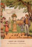 AU BON MARCHE  Chromo   -  Jardin Des Tuileries  -  Le Charmeur D' Oiseaux  -   Carte à Système En Relief - Au Bon Marché