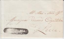 LAC 01/09/1869 GALLIPOLI TO LECCE GRIFFE GALLIPOLI - Italia