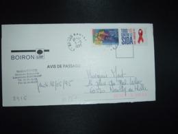 LETTRE (PLI) TP YT 2916 EUROPA SIDA + VIGNETTE OBL.11-5 1995 27 LES ANDELYS EURE + BOIRON - 1961-....