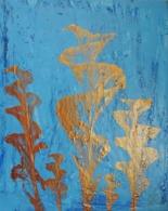 Tableau Peinture Acrylique Fleurs Dorées Sur Fond Bleu - Other