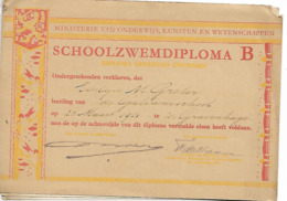 SCHOOLZWEMDIPLOMSA B  1951 - Diplomas Y Calificaciones Escolares
