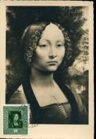 48801 Liechtenstein, Maximum  18.6.1954,  Painting Of Leonardo Da Vinci Mrs Ginevra De Benci - Arte