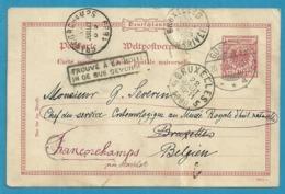 Entier Vanuit Duitsland Naar BRUXELLES , En Doorverzonden Naar FRANCORCHAMPS , Met Stempel TROUVE A LA BOITE - Postmark Collection