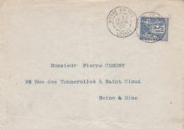 LOIRET-  Cachet A De VIENNE EN VAL  Sur Enveloppe Au  Type Sage - Postmark Collection (Covers)