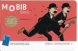 CARTE A PUCE TRANSPORT MOBIB BASIC MVB  STB BRUSSELS B-D BANDE DESSINÉE HERGE LES DUPOND ET DUPONT - Transportation Tickets