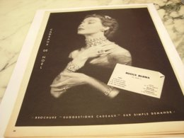 ANCIENNE PUBLICITE CADEAUX DE NOEL BIJOUX  BURMA  1952 - Juwelen & Horloges