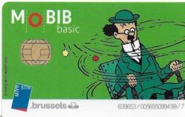 CARTE A PUCE TRANSPORT MOBIB BASIC MVB  STB BRUSSELS B-D BANDE DESSINÉE HERGE PROFESSEUR TOURNESOL - Transportation Tickets