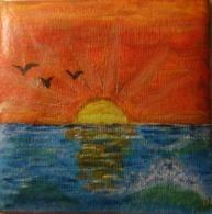 Tableau Peinture Acrylique - Coucher De Soleil - Other