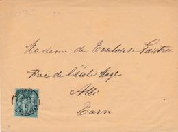 ARDENNES-  Cachet A De VOUZIERS  Sur Enveloppe Au  Type Sage Adressée à Mme TOULOUSE LAUTREC. - Postmark Collection (Covers)