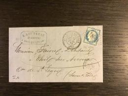 N°60 GC 6294 + T.24 ST LÉGER-DU-BOIS (70) / Lettre (1873).SAONE ET LOIRE. Cote = 190 (indice 16) - Marcophilie (Lettres)