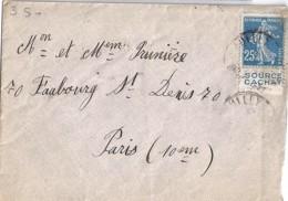 """SEMEUSE N° 140 + PUB """"source Cachat"""" SUR LETTRE DE 1924 - 1906-38 Semeuse Camée"""
