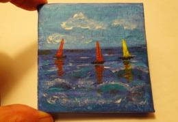 Tableau Peinture Acrylique - 3 Voiliers - Other