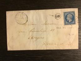 N°14 PC 3091 PERCÉ EN LIGNES + T.15 ST GERMAIN-DU-BOIS (70) / Lettre (1862) + OR. SAÔNE ET LOIRE. RARE. TTB - Marcophilie (Lettres)