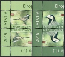 "LETONIA /LATVIA /LETTLAND /LETTONIE - EUROPA 2019 -NATIONAL BIRDS.-""AVES - BIRDS - VÖGEL -OISEAUX""- PAR INVERTIDO IZQ - 2019"