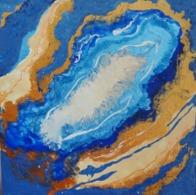 Tableau Peinture Acrylique - Géode Bleue - Other