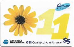 Cambodia - Cambodia Shinawatra - Sunflower (Normal Size) - Remote. Mem 5$, Exp. 12.12.2003, Used - Kambodscha