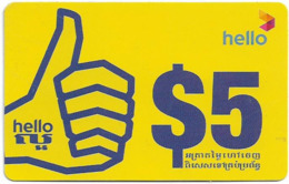 Cambodia - Hello - Advertisement Hand - Remote. Mem 5$, Exp.28.08.2012, Used - Kambodscha