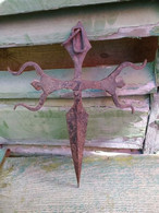 Ancienne Croix Fer Forgé Ordre De Santiago / Haute Epoque XVIIe XVIIIe Pèlerin Forged Iron Cross - Ironwork