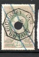 BELGIQUE N°10 25C VERT SUR ROSE TIMBRE TÉLÉGRAPHE OBL PERFORE - Telegraph