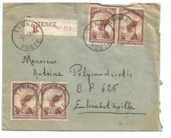 1936 Congo Belge, Belgian Congo TENKE To ELISABETHVILLE Registered, Airmail Commercial Cover Envelope Enveloppe Lettre - Africa (Other)