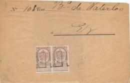 351/30 -- PREO 2 C Roulette BRUXELLES 00 En Paire Avec Bandelettes Sur Bande De Journal  (recto/verso) - Rollo De Sellos 1900-09