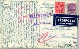 1940 HUNGRIA , TARJETA POSTAL  CIRCULADA  , CENSURA , BUDAPEST - BERLIN , CORREO AÉREO - Hungría
