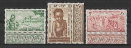 A.E.F. 1942 - Protection De L'enfance Indigène - Bords De Feuilles PA  Y&T - N° 10/11/12 ** P A -  Neufs Luxe (T.B.) - Nuevos