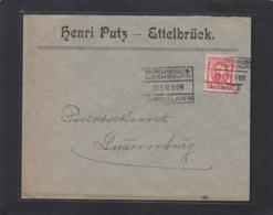 HENRI PUTZ,ETTELBRÜCK.BRIEF MIT BAHNPOSTSTEMPEL(AMBULANT)UND VIGNETTE. - 1906 Guillaume IV