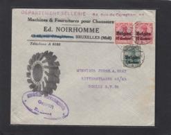 MACHINES & FOURNITURES POUR CHAUSSURES , BRUXELLES.LETTRE AVEC CACHET DE CENSURE POUR BERLIN. - Weltkrieg 1914-18