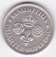 Ile Maurice (1/4) Quarter Rupee 1946 George VI, En Argent. KM# 18a - Mauricio