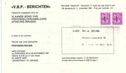 355/30 --  8 PREOS Lion Et Banderole ( Valeurs 60 C , 1 F , 1 F 50 Et 2 F) Sur 3 Devants De Périodiques KVBP Afd. BRUGGE - Precancels