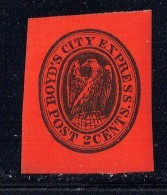 Boyd's City Express, New York  2 Cent Black On Red Full Original Gum   **  Reprint - 1845-47 Provisorische Ausgaben