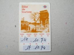 Billet De Tourisme / RATP, 1974. ( Visitez L'ile De France ) - Europa