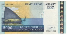 MADAGASCAR  5'000 Ariary  25'000 Francs      P84  (ND  2003) - Madagascar