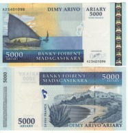 MADAGASCAR  5'000 Ariary  25'000 Francs      P84  (ND  2003)  UNC - Madagascar