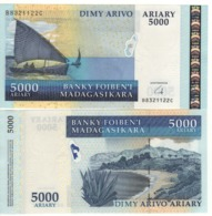 MADAGASCAR  5'000 Ariary   P91b  (with Omron Rings  ND 2007-15)  UNC - Madagascar
