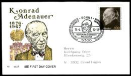07649) BRD - Mi 1601 - FDC - 100Pf       Konrad Adenauer - [7] República Federal