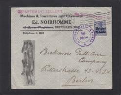 MACHINES & FOURNITURES POUR CHAUSSURES , BRUXELLES.LETTRE AVEC CACHET DE CENSURE POUR BERLIN. - Guerre 14-18