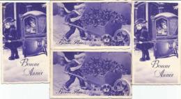 4 Mini Cartes Voeux Bonne Année,enfants, Format 5,5 Cm X + -9 Cm 1 Bord Coupé - Anno Nuovo