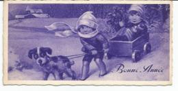 1 Mini Carte Voeux Bonne Année,enfants,traineau, Chien, Format 5,5 Cm X 11 Cm Importé D'Italia - Anno Nuovo